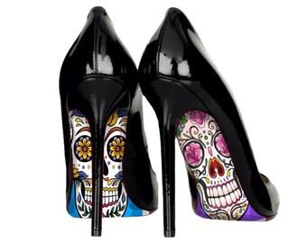Sugarskull shoes, sugarskull, sugarskull heels, day of the dead, skull shoes, wedding shoes, wedding shoe sticker, wedding sticker