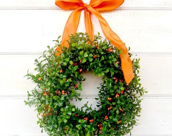 Mini Boxwood Wreath-Mini Wreath-Scented ORANGE Berry Wreath-Country Cottage Wreath-Kitchen Decor-Artifical Boxwood Wreath-Wall Hanging