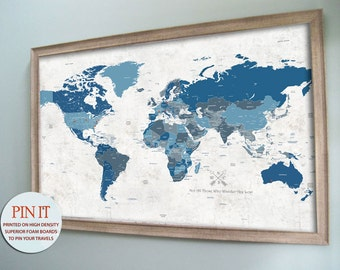 Push Pin Map, Framed, 24X36 Inches, World Travel, Paper Gift, Travel Map, Anniversary Gift, paper gift