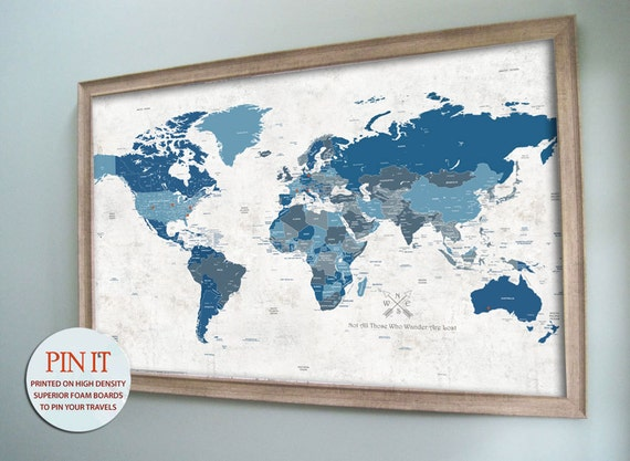 Push Pin Map Framed 24X36 Inches World Travel Paper by TexturedINK – Push Pin World Travel Map
