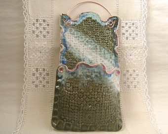Wall Pocket, Stoneware Pottery, Rectangular, Dark Green, Snow White