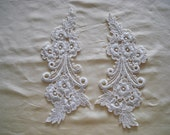 Venice Lace Embroidery Appliqués Pair In Off White Color.