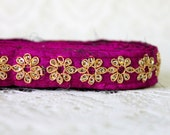 9 Yards-Narrow Fabric ribbon trim-Yoga Bracelet Trim-Wrist Wrap Ribbon-Sequinned Ribbon-Silk Fabric Embroidered Ribbon-Purple Fabric Ribbon