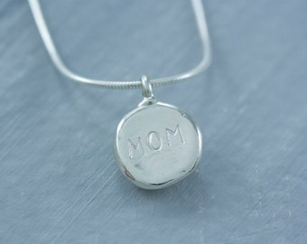 """READY TO SHIP Sterling Silver Personalized with """"mom"""" Pebble Charm"""