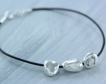 READY TO SHIP Sterling Silver  Three Pebble Bead Bracelet on Leather