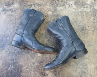 9 1/2 D Men's Navy COWBOY BOOTS / Vintage Western Footwear / Men's Shoes