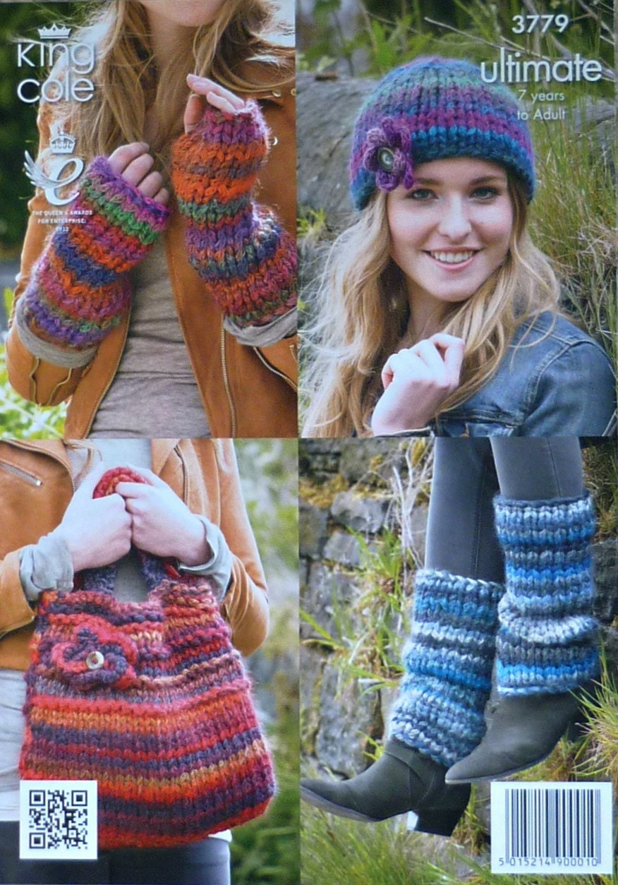 Knitting Pattern Leg Warmers Bulky Yarn : Womens Knitting Pattern K3779 Ladies Bag, Hat and Wrist/Leg Warmers Knitting ...