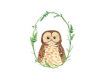 Owl - Original Watercolor Painting - Woodland Nursery Art - Kids Wall Art