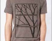 Tree Print T Shirt Screen Printed Nature Tee Block print style Unisex Mens Womens American Apparel XS, S, M, L, XL