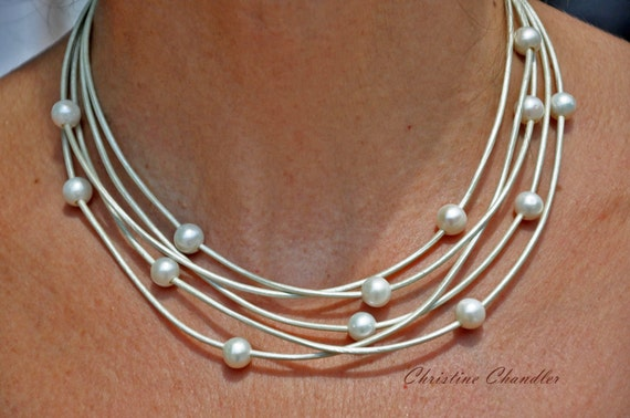 Leather Necklace - Pearl and Leather Necklace - Christine Chandler - 5 Strand Pearl and Leather Necklace - Pearl and Leather Jewelry