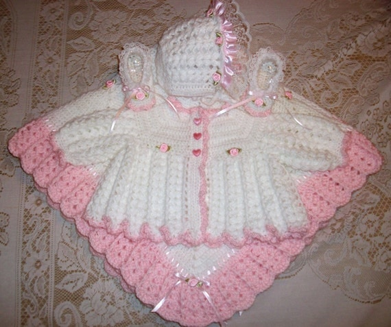 Crochet Baby Girl Pink And White Sweater Set Bonnet Booties and Blanket Layette Perfect For Baby Shower Gift or Newborn Take Me Home outfit