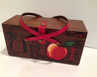 Enid Collins of Texas Apple of my eye box purse with leather straps and hand painted front