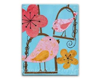 Children's Wall Art Print 16x20- bird, singing birds, flowers, pink, Nursery Art, Nursery Room Decor, Girls Nursery, Kids Art