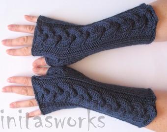 "Fingerless Gloves Mittens Dark Blue 10"" Arm Warmers, Acrylic"