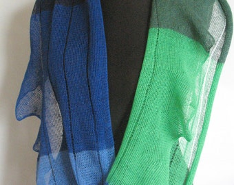 Linen Scarf Green Blue Striped Infinity Scarf Cowl Wrap