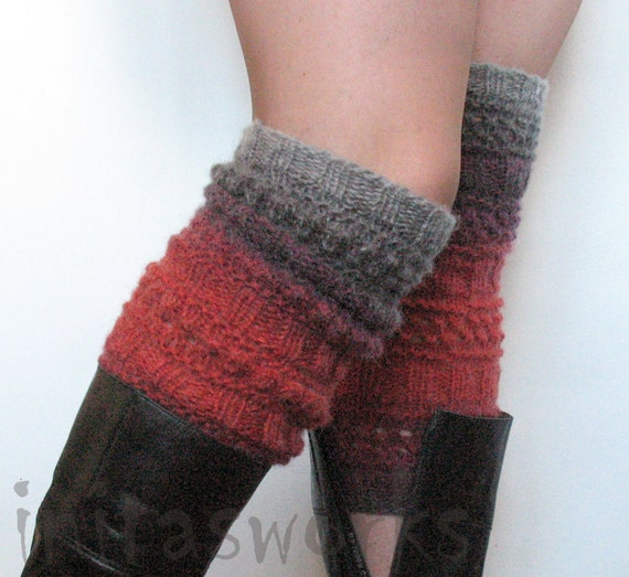 Boot Cuff Boot Toppers Leg Warmers Striped Valentine's day Multicolored Boot Socks Knit Legwarmers Cable Knitted