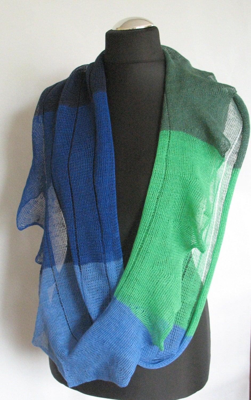 Striped Infinity Scarf Knitting Pattern : Linen Scarf Green Blue Striped Infinity Scarf Cowl Wrap