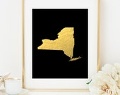 STATE MAP PRINT Faux Gold Foil Art Print - Gold Art- Imitation Gold Leaf - Travel Decor - Black & Gold - State Map Print - Any State