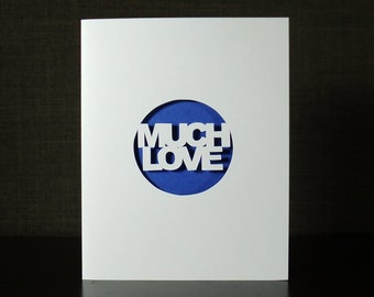 Much Love Blue Cutout Peekaboo Card, Anniversary Wedding Valentine's Day Greeting Card
