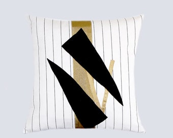 "Decorative Pillow, Home Decor, Cotton White striped Throw pillow case with Gold-Black color accent, fits 16"" x16"" insert, Toss pillow case."