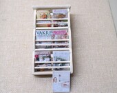 Dollhouse 12th Scale Magazine rack, shabby chic, with magazines