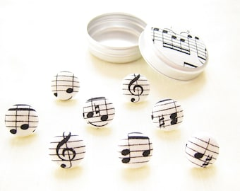 Music score sheet music fabric button covered drawing pins in a dinky tin. Great gift for your music teacher. Black and white.