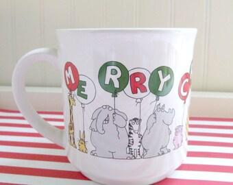 Vintage 1980s Sandra Boynton Christmas Mug, Boynton Coffee Cup with Animals and Balloons, Merry Christmas To You
