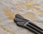 hair fork ebony wood  victorian  medieval wood carving