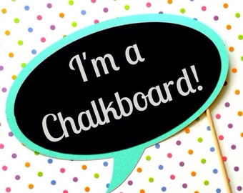 Chalkboard Photo Booth Prop - Chalk Board Bubble Prop - You Choose Background Color - Fun for Parties, Weddings