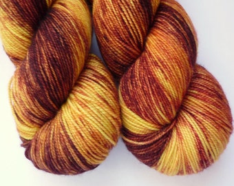 Hand Dyed Yarn - Merino / Cashmere / Nylon Sock Weight - Ausable Sock in Serengeti Sunset Colorway