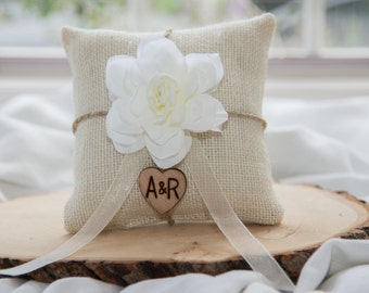 White Magnolia flower ivory burlap personalized ring bearer pillow  shabby chic with engraved heart  initials... many more colors available