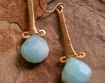 Blue Opal Earring Riviera Earrings Peruvian Opal and 14k Gold Fill