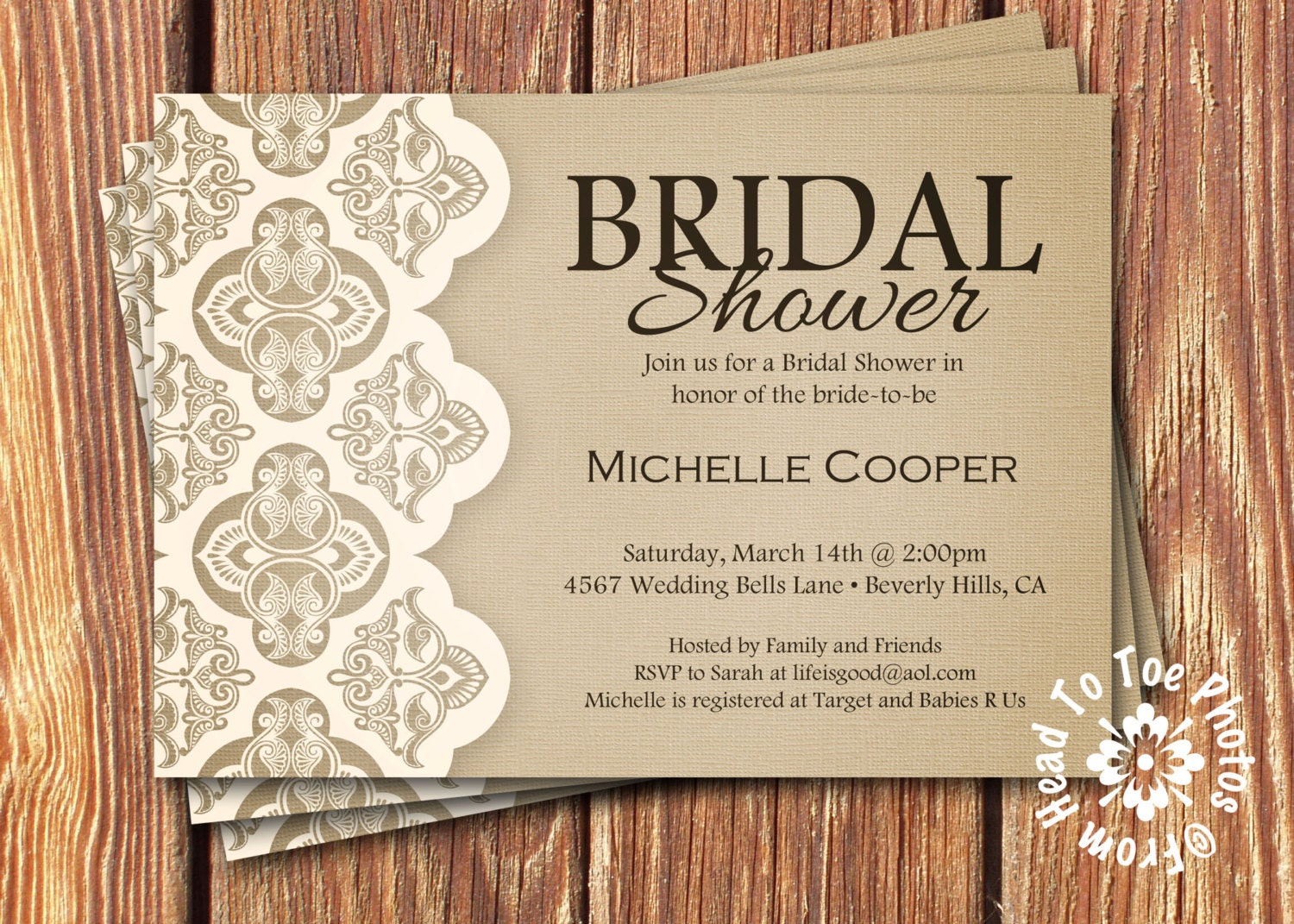 Shabby chic bridal shower invitations by fromheadtotoedesigns for Invitations for wedding shower