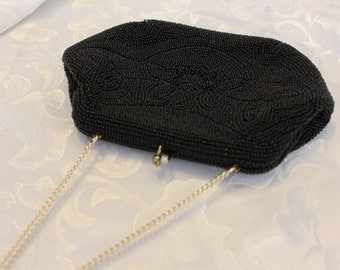 BONSOIR Black Beaded Purse Evening Bag Japan