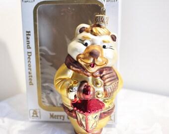 Hand Painted Glass Teddy Bear Ornament Poland Impuls