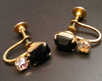 Vintage screw on style earrings black glass or onyx.