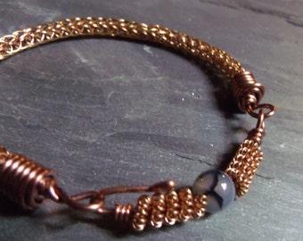 Bronze Viking Knit Bracelet with Agate