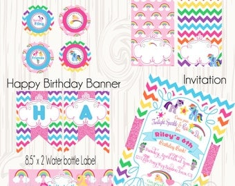 Little Pony party package, DIY printable Little Pony invites, Printable Pony Package