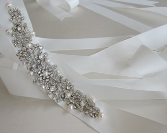 Pearl and crystal bridal belt sash, Swarovski pearl and crystal wedding sash belt, Grosgrain ribbon crystal belt