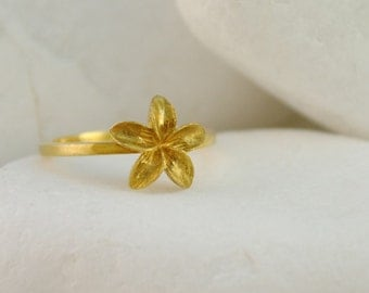 Flower Ring - Gold Plated Solid Sterling Silver