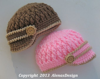 Crochet Pattern 092 - Crochet Hat Pattern - Hat Crochet Pattern for Two-Button Visor Hat Newborn Baby Boy Baby Girl Toddler Baby Shower Gift