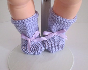"""19-20"""" Lavender Booties with Lavender Bows"""