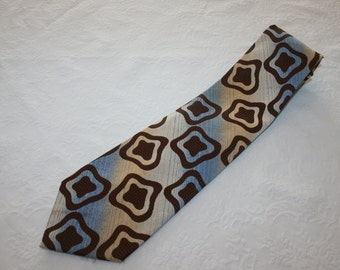 Vintage Mens Necktie Tie Miracle Fabric Cravat Beige Blue Brown Ugly Tie 100% Polyester Retro Mod