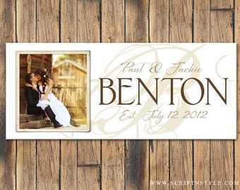 Personalized Family Name Sign, Family Established Sign, Last Name Sign with Photograph, Wedding Sign, Wedding Anniversary Gift