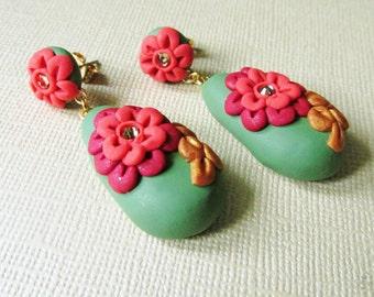 Floral Earrings, Statement Earrings, Bright Flower Earrings