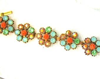 Blue Green Coral Flower Link Bracelet Swarovski Crystal Vintage Flower bracelet Large bracelet 7-1/2 inch Plus Size Jewelry Blue braceletl