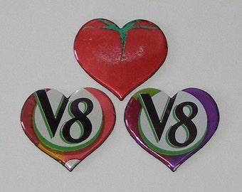 3 Heart Magnets - V8 Vegetable Fruit Can