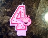 Pink Peppa Pig Inspired Birthday Candle- party candle cake topper cake candle pig farm party pig candle birthday candle cake candle birthday