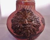 Ceramic Jug, Ceramic Wine Jug, Green Man Jug, Woodland Jug, Tree Jug, Wood Grain Pottery, Ceramic Wood Grain Pottery, Wiccan Pottery Jug