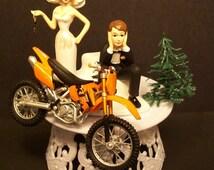 Motorcycle Dirt Bike Bride and Groom W/Die Cast Orange Bike Funny Bike Wedding Cake Topper